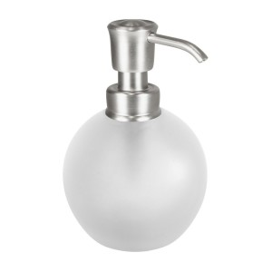 InterDesign Glass Soap Pump, Frost/Brushed Nickel